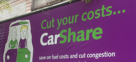 Section of a CarShare billboard