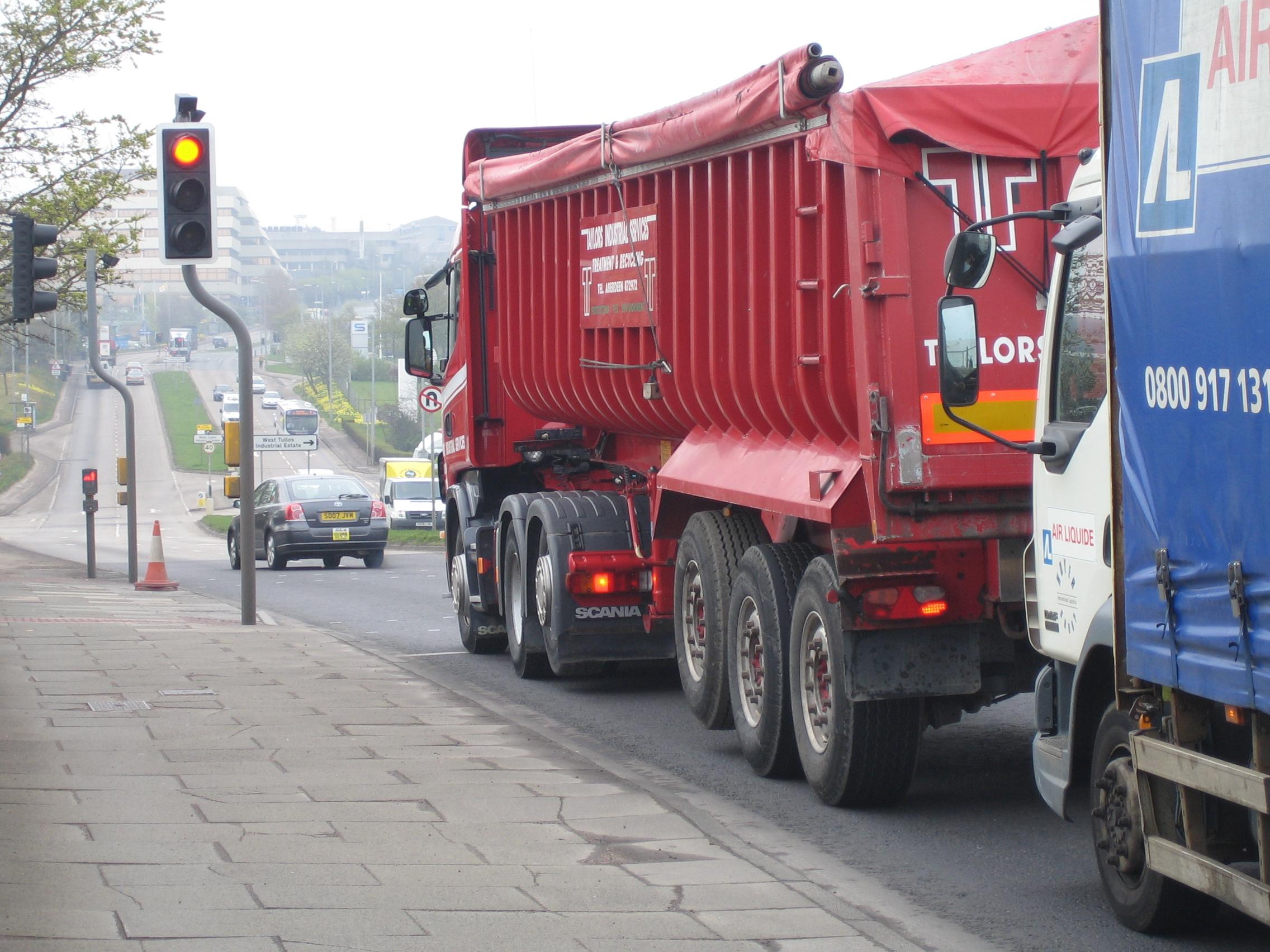 HGVs at traffic lights