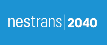 The text Nestrans 2040 appears on a blue background